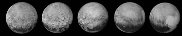 Pluto den po dni během přibližovací fáze New Horizons. Autor: NASA/JHUAPL/SWRI/Phil Stooke