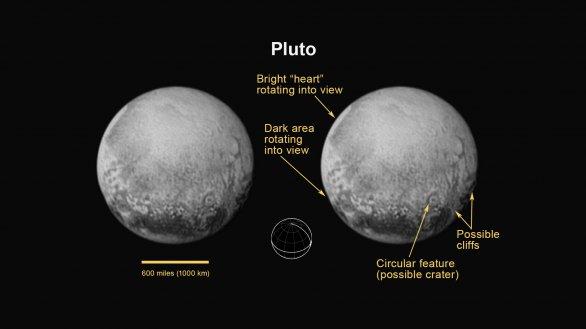 Pluto na snímcích z 11. 7. 2015 s popisky Autor: NASA/JHUAPL/SWRI