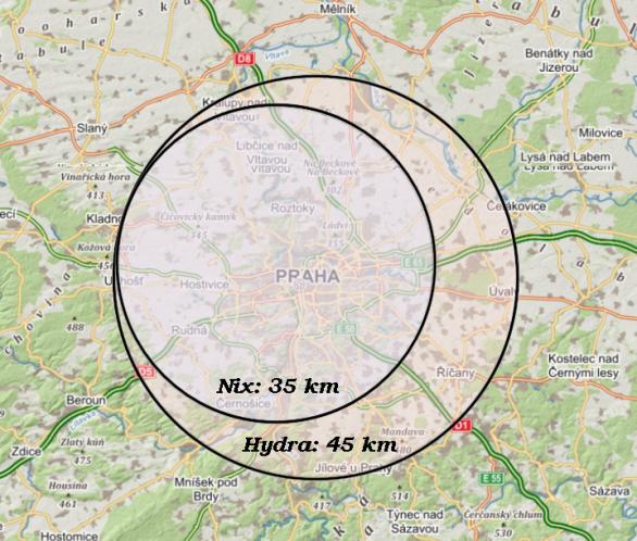 Velikost měsíců Pluta - Nix a Hydra - v porovnání s okolím Prahy. Autor: Martin Gembec