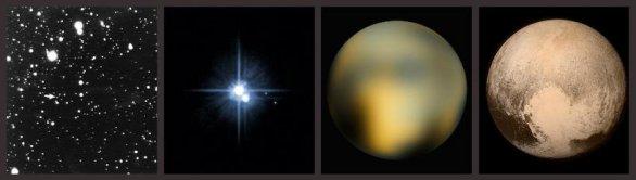 Vývoj našeho pohledu na Pluto v čase. První je objevový snímek z roku 1930, dále vidíme snímek HST, když poprvé rozlišil Pluto a Charon. Třetí snímek ukazuje nejlepší detaily, jak je zachytil HST a poslední snímek z 13. 7. z New Horizons je už důvěrně známý. Autor: NASA