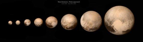 Pluto tak, jak jej postupně New Horizons viděla mezi 25. červnem a 13. červencem 2015. Autor: NASA, Damian Peach.