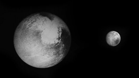 Pluto a Charon na surových snímcích z kamery LORRI na sondě New Horizons ze 13. července 2015. Autor: NASA/New Horizons/JHUAPL.
