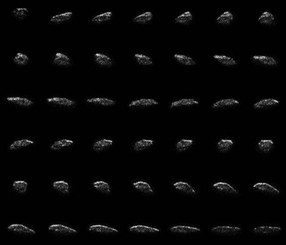 Koláž snímků rotace asteroidu 2015 HM10 Autor: NASA/JPL-Caltech; NRAO/AUI/NSF