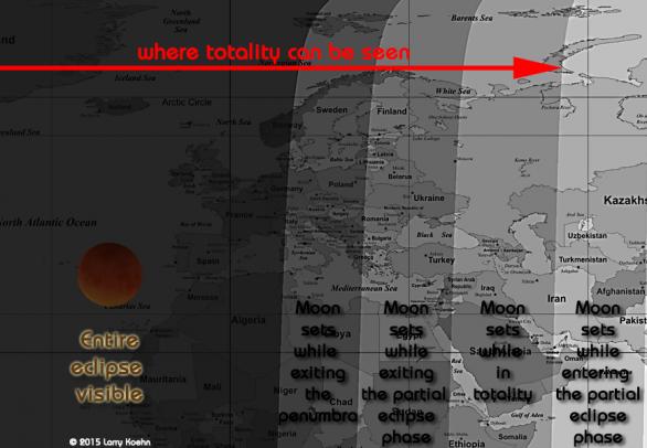 Viditelnost zatmění Měsíce 28. září 2015 v Evropě. Autor: Larry Koehn.