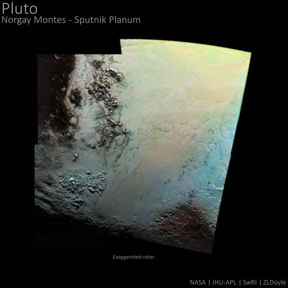 Mozaika části světlé oblasti nazvané týmem New Horizons jako Tombaugh Regio. Dole vidíme pohoří Norgay Montes a nahoře světlé Sputnik Planum Autor: NASA/JHUAPL/SWRI/ZLDoyle