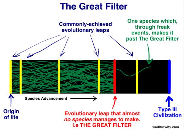 Velký filtr – (modře) Počátek života / (modře) Často dosahované evoluční skoky. (červeně) Evoluční skok, přes který se nedostanou skoro žádné druhy, tzv. VELKÝ FILTR. (zeleně) Jeden druh, který se za nějakých šílených událostí dostal přes Velký Filtr (modře) civilizáce Typu III Autor: waitbutwhy.com