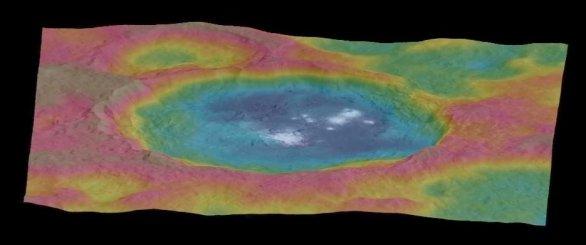Kráter Occator v nepravých barvách Autor: NASA/JPL-Caltech/UCLA/MPS/DLR/IDA