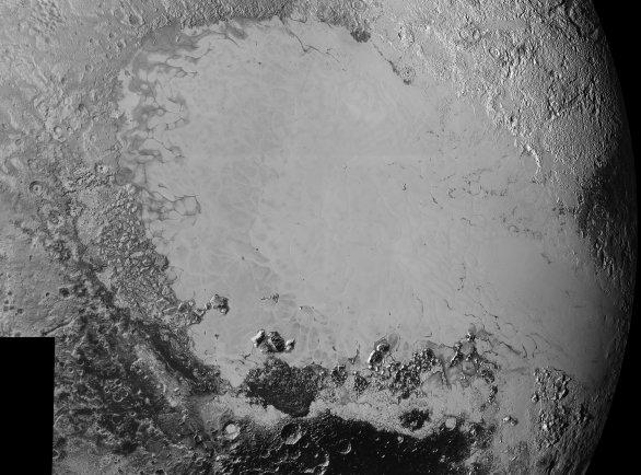 Ukázka odlišných oblastí na Plutu ve velkém detailu Autor: NASA/JHUAPL/SWRI
