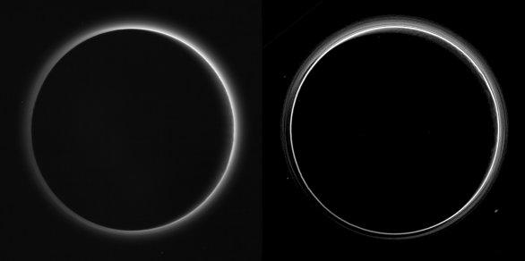 Atmosféra Pluta. Vlevo snímek ze sondy, vpravo zvýrazněny vrstvy Autor: NASA/JHUAPL/SWRI