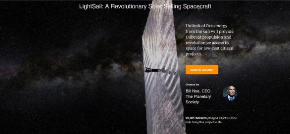 LightSail v projektu Kickstarter Autor: The Planetary Society