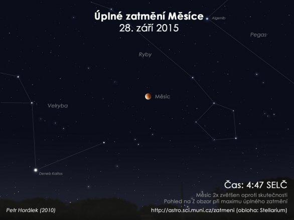Simulace Měsíce během maximální fáze zatmění 28. září 2015 Autor: Stellarium / Petr Horálek