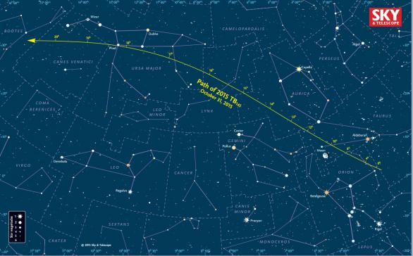 Náhledová mapka s dráhou planetky 2015 TB145 po obloze. Časy jsou ve světovém čase (UT). Autor: Sky & Telescope: Gregg Dinderman