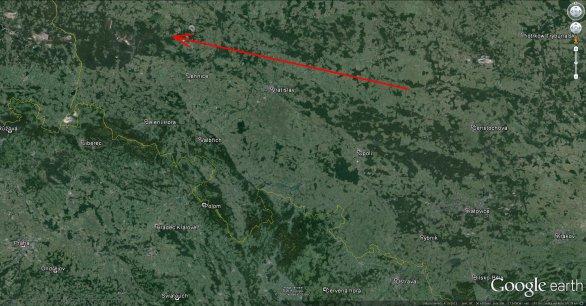 Průmět dráhy bolidu EN051115 na zemský povrch. Autor: Google/Pavel Spurný.