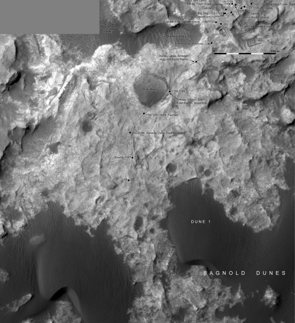 Sol 1168: trasa Curiosity od Big Sky a Greenhorn k Bagnold Dunes Autor: NASA/JPL/MSSS/Phil Stooke