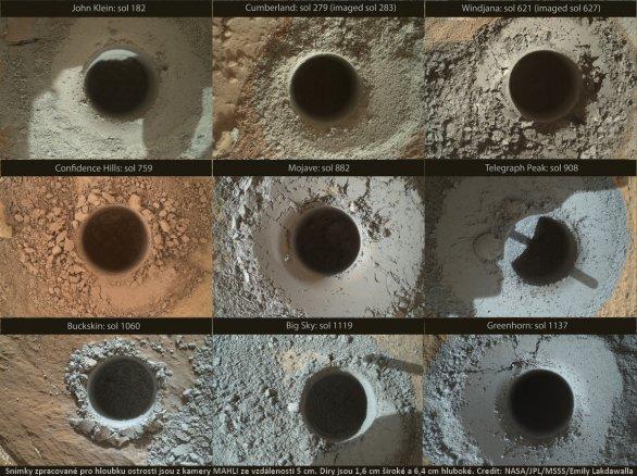 Listopad 2015: Devět vrtů Curiosity Autor: NASA/JPL/MSSS/Emily Lakdawalla