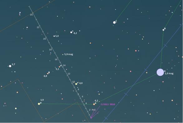 Polohy komety C/2013 US10 (Catalina) v prosinci 2015. Data: Guide 9