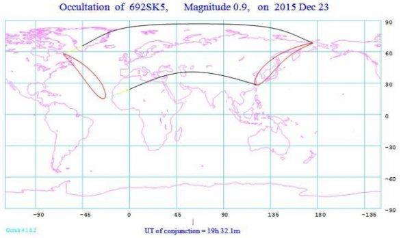 Pás viditelnosti zákrytu Aldebaranu Měsícem 23. prosince 2015 ve světě. Autor: Hvězdárna Rokycany