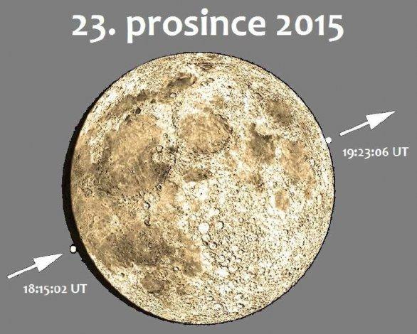 Průběh zákrytu Aldebarana Měsícem 23. prosince 2015 z Rokycan (v ČR se budou časové údaje lišit v minutách). Autor: Karel HALÍŘ