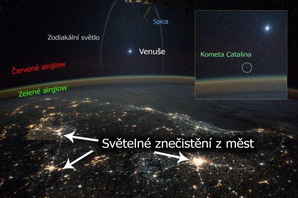 Snímek (zdaleka nejen) Venuše nad Zemí z vesmíru. Co vše na něm najdete? Autor: Kimiya Yui, ISS/NASA.