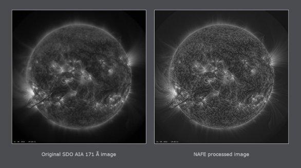 Snímek SDO AIA 171 Å vyprodukovaný NASA (vlevo) a zpracovaný programem NAFE (vpravo). Autor: Miloslav Druckmüller
