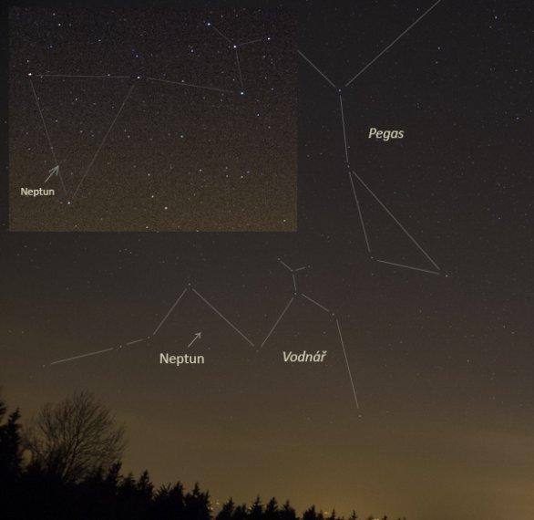 Neptun na večerní obloze s vyznačenými souhvězdími Autor: Martin Gembec