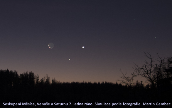 Seskupení Měsíce, Venuše a Saturnu 7. ledna 2015. Simulace podle fotografie Autor: Martin Gembec