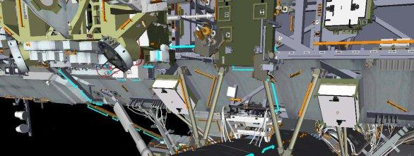 Modře josu vyznačena místa, kterých se astronauti při přesunu mohou držet Autor: ESA