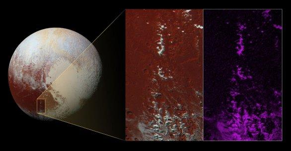 Analýza výskytu metanového ledu na vrcholcích hor protínajících východní část oblasti Cthulhu na Plutu Autor: NASA/JPL/SwRI