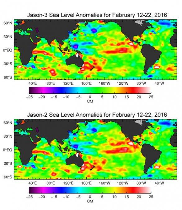 Změny ve výšce mořské hladiny mezi 12. a 22. únorem – porovnání údajů z družic Jason-2 a Jason-3 Autor: NASA/JPL-Caltech/Ocean Surface Topography Science Team