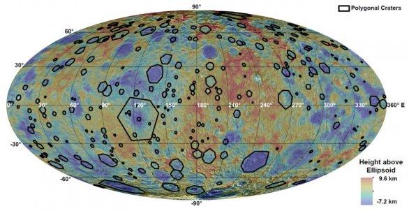 Mapa rozložení polygonálních kráterů na Ceresu Autor: K. A. Otto et al., LPSC2016