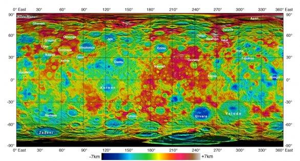 Topografická mapa (vyvýšeniny a sníženiny oproti referenčnímu elipsoidu) na základě měření ze sondy Dawn Autor: NASA/Dawn