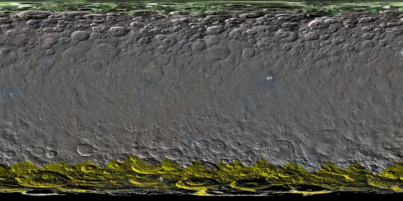 Mapa Ceres dobarvená podle spektrálních měření Autor: NASA/Dawn