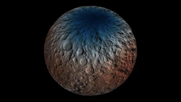 Zastoupení vodíku (a tedy nepřímo i vodního ledu) v hloubce do jednoho metru pod povrchem Ceresu. Severní pól leží uprostřed modré oblasti, kde je vodního ledu nejvíce Autor: NASA/Dawn