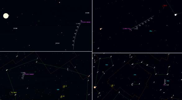 Mapky pro komety 2014 S2 a 252P v 17. týdnu 2016. Data: Guide 9