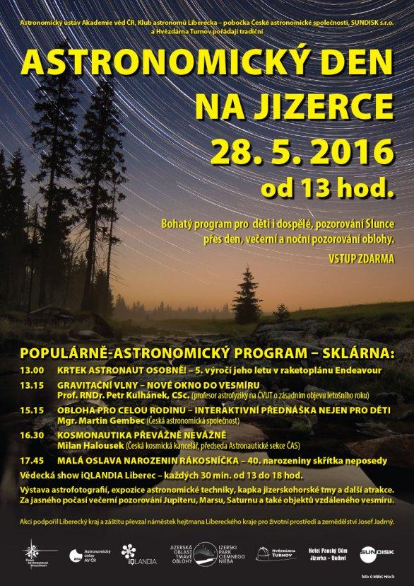 Astronomický den na Jizerce 28. května 2016 - program. Autor: KaL/ČAS.