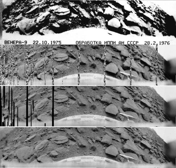 Veněra 9, foto povrchu. Originální snímek byl speciálními postupy upraven tak, aby byl pokryt celý dynamický rozsah a zobrazoval se přirozeně na monitoru. Postup úprav je vidět shora dolů Autor: Don P. Mitchell