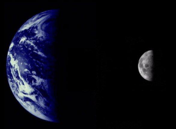 Země a Měsíc z Marineru 10 Autor: NASA/JPL/Northwestern University