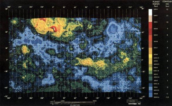 Mapa Venuše ze sondy Pioneer Venus Autor: NASA-Ames/USGS/MIT