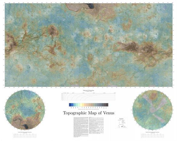 Topografická mapa Venuše. Veněra 15, 16, Magellan Autor: NASA/Daniel Macháček