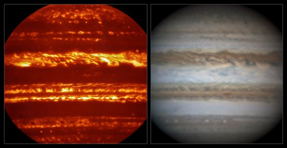 Srovnání snímku pořízeného v infračervené oblasti přístrojem VISIR (vlevo) a detailního záběru ve viditelném světle (vpravo) pořízeného amatérským astronomem zhruba ve stejném čase. Autor: ESO/L.N. Fletcher/Damian Peach