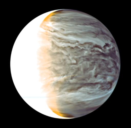 Venuše pohledem infračervené kamery ve vlnové délce 2,26 mikrometru dne 26. 3. 2016 Autor: JAXA