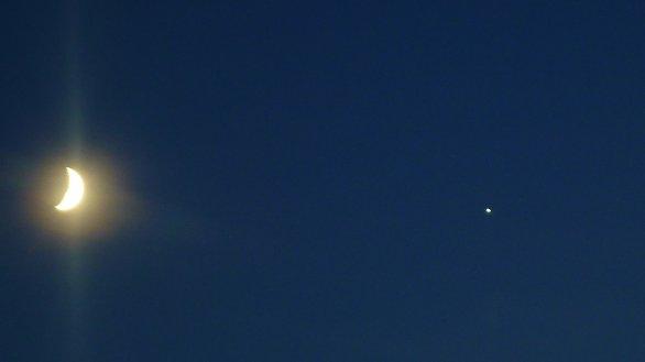 Měsíc & Jupiter nad Českým krasem Autor: Libor Faitl