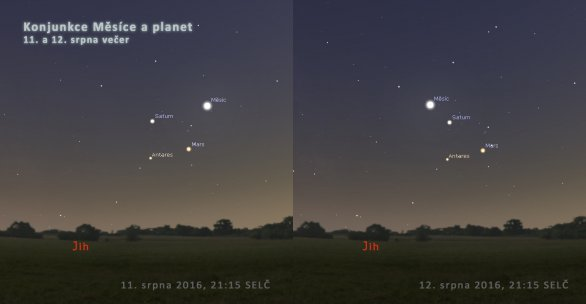 Fotogenická konjunkce planet s Měsícem a hvězdou Antares 11. a 12. srpna za soumraku nízko nad jižním obzorem zpestří pozorování Perseid. Autor: Stellarium/Petr Horálek.