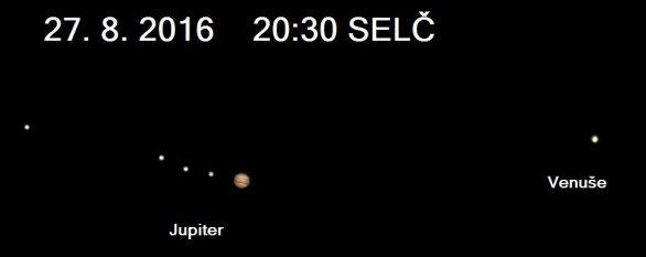 Vzájemná poloha Venuše a Jupiteru 27. srpna 2016 večer. Autor: Stellarium, Karel Halíř.