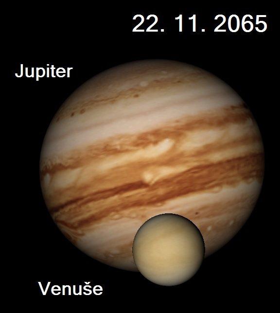 Přechod Venuše před Jupiterem 22. listopadu 2065. Autor: Stellarium, Karel Halíř.