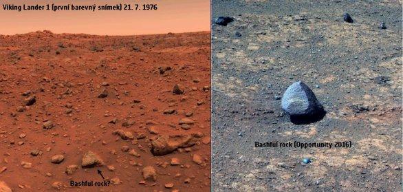 Kameny Bashful a Bashful II na Marsu. Viking 1 a Opportunity Autor: NASA