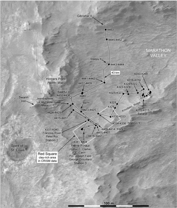Mapa polohy Opportunity k solu 4453 v srpnu 2016 Autor: NASA/JPL/MSSS/Phil Stooke