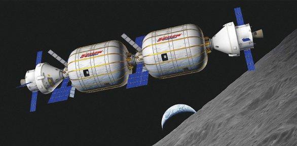 Možná podoba stanice s nafukovacími moduly Autor: Bigelow Aerospace