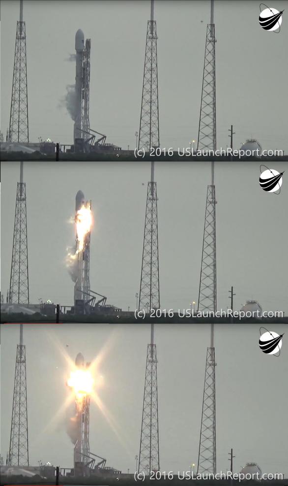 Exploze rakety Falcon 9 na rampě 1. 9. 2016 Autor: USLaunchreport.com
