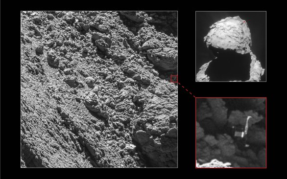 Snímek modulu Philae na povrchu komety 67P/Čuryumov-Gerasimenko 2. září 2016 Autor: ESA/Rosetta/MPS for OSIRIS Team MPS/UPD/LAM/IAA/SSO/INTA/UPM/DASP/IDA